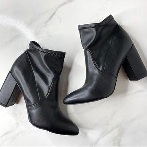 Franco Sarto Kacee Black Sock Heeled Boots 8.5